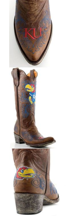 University of Kansas Jayhawks - distressed pointed toe cowboy / cowgirl boots with logo