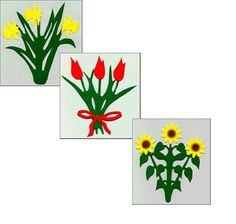 """Welcome to Scandinavian Imports Danish paper-cut,  fold-out mobiles,  are cheerful and colorful gifts to add color to small spaces.  They can be hung in windows or from ceilings.  The daffodil mobile is  6x51/2,  the red tulip is 5 1/4x41/2"""" and the Sunflower mobile is  5 1/2x5.""""  They cost  $8.95 each."""