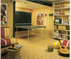 Home Entertainment 1970s Style ~ the GOLD paneling!  Our entire downstairs had this.