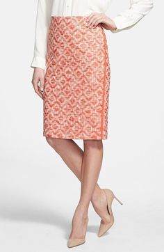 aztec weave coral pencil skirt {40% now during Nordstrom's Half Yearly Sale!}