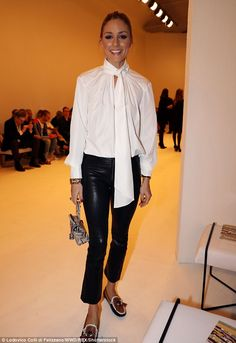 Chic: Also stealing the attention at the event was Olivia Palermo who dazzled in a pussybow blouse paired with flood-length leather trousers and a pair of loafers