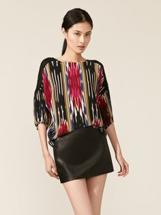 Silk Ikat Draped Blouse and leather skirt by Thakoon