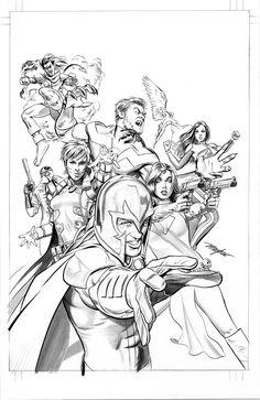 Mike Mayhew Original CIVIL WAR II: X-MEN #3 Variant Cover B&W Art Comic Art