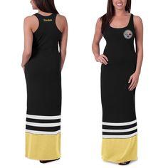 Women's '47 Brand Black Pittsburgh Steelers Replay Maxi Dress