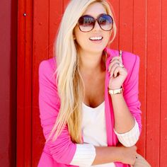 Bought a bright pink blazer JUST like this today! any outfit ideas for it? :) #everygirl has to own a hot pink blazer