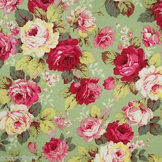 SHABBY ROSE Fabric By The Yard Fat Quarter Sage Green Pink Shabby Chic Floral Quilt 100 Cotton Yardage T2 14