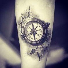 Compass Tattoo with Map Around