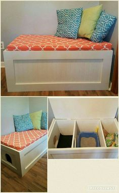14 ways to hide the litter of the cat and to integrate it with the decoration of . - - 14 ways to hide the litter Diy Litter Box, Hidden Litter Boxes, Litter Box Enclosure, Cat Liter, Liter Box, Pet Beds, Dog Bed, Bench Decor, Cat Room