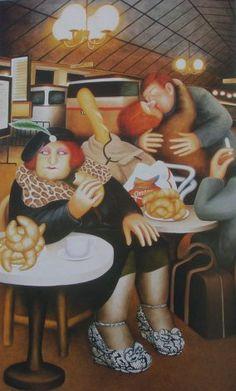 """The Official Beryl Cook site - """"Gare du Nord"""" Renoir, Comic Art Girls, Beryl Cook, Plus Size Art, Friend Book, Cafe Art, English Artists, Tea Art, Fat Women"""