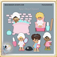 Spa Party Digital Scrapbook Elements Clipart by MagicmakerScraps Bear Clipart, Calendar Stickers, Checkbook Cover, Mural Wall Art, Spa Party, Blog Design, Photoshop Elements, Print And Cut, Photo Greeting Cards