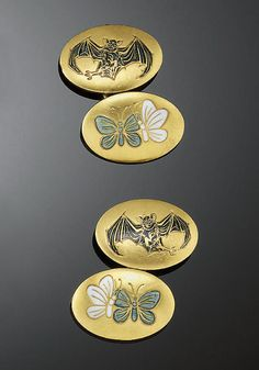A pair of gold and enamel cufflinks, c.1880, depicting bats (symbol of the night) and butterflies (symbols of the day), the reverse engraved, Toujours jours et nuit (Always day and night).