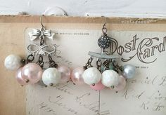 purdyupcycled dangle repurposed shabby earrings vintage by Arey