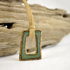 eclectic geometric stoneware indie pendant by glazedOver Pottery green square | Flickr - Photo Sharing!