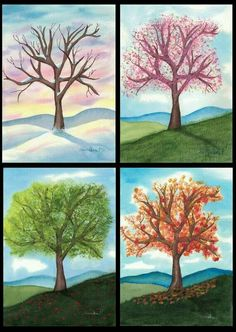 Four Seasons Art Print Set by SnowWillowPrints on Etsy Four Seasons Painting, Four Seasons Art, Painting Lessons, Art Lessons, Art Plastique, Tree Art, Painting Inspiration, Art For Kids, Art Drawings