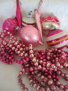 Pretty in Pink Vintage Mercury Glass Garland and by myfancies, $30.00