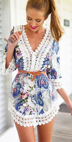 Crochet trim dress