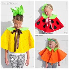 CUTE Fruit Capes by @simplesimonco | Pineapple Costume | Kids Strawberry Costume con bolsas de plástico de colores también preciosas. http://www.multipapel.com/familia-material-para-disfraces-maquillaje-bolsas-de-color.htm
