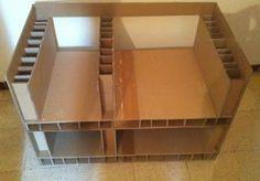 un meuble tv en carton réalisé selon la méthode de boitage