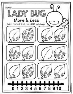 Kindergarten More or Less Activity Worksheet Printable
