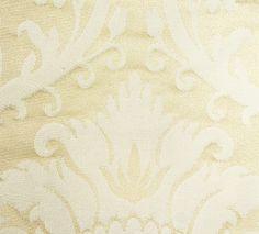 Minster Damask Fabric  Silk damask curtain fabric in Ivory.