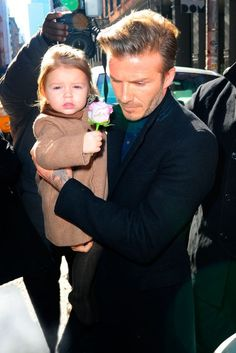 David and Harper Beckham at Victoria Beckham at New York Fashion Week autumn/winter 2013