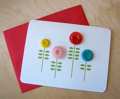 a little stamping + a few bottons = easiest cutest card ever!