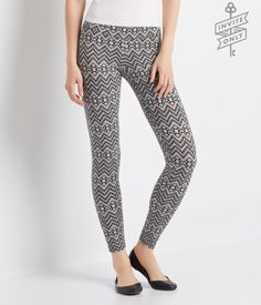 "Soft, stretchy and super artsy, these Invite Only Southwest Chevron Leggings are everything you could ask for! Their high-contrast geo print makes a bold statement, while the thick elastic waistband offers a snug fit. Pair them with a tunic and tall riding boots to show off your free-spirit flair.<br><br>Slim fit. Approx. inseam (S): 28.5""<br>Style: 3803. Imported.<br><br>56% cotton, 38% polyester, 6% spandex.<br>Machine wash/dry."