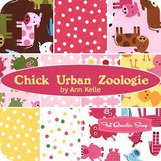 Chick Urban Zoologie Fat Quarter Bundle Ann Kelle for Robert Kaufman Fabrics - Fat Quarter Shop