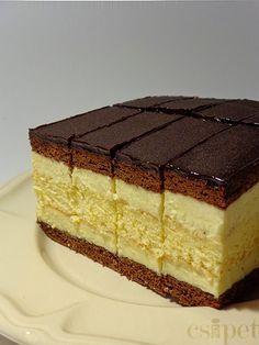 egycsipet: Vendégváró szelet Hungarian Desserts, Hungarian Recipes, Sweets Recipes, Gourmet Recipes, Cookie Recipes, Sweet Cookies, Sweet Treats, Cold Desserts, Happy Foods