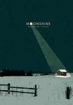 달빛에 대한 포스턴데. moonshine의 o가 달처럼시골의 풍경중에 한 집만을 밝히고 있는것이 아이디어가 좋고 색감이 단정함으로 좋은 디자인의 포스터이다.