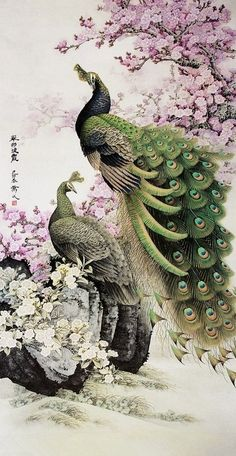 Gongbi Painting 翠羽披霞