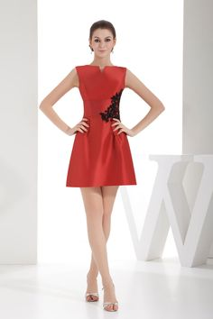 Notched Taffeta Zipper Length Beading Natural Waist Cocktail Dress