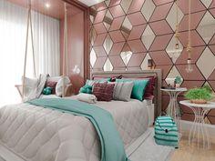 Aquele quarto pra se apaixonar... O rosa com o azul pantone dá uma composição maravilhosa Projeto po
