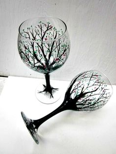 Wine Glasses Hand Painted Trees Pair of Tree Wine Glasses
