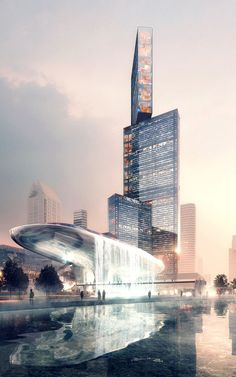 This resembles an anvil. The Nexus tower and the Concourse bldg in Shenzhen by PLP Architecture