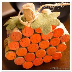 How to Make a Cork Pumpkin ~ so simple ... make with a hot glue gun and a little paint & embellishment  #diy #craft #tutorial