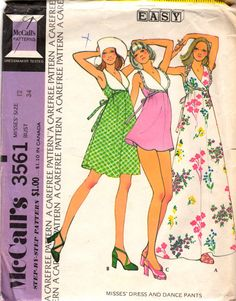 McCalls 3445 1970s Misses  Pullover  Baby Doll  Style Pullover DRESS and Tap Pants womens vintage sewing patten by mbchills