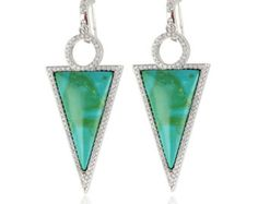 Triangle Green Howlite Turquoise Dangle Drop Diamond Cz Earrings Huggie Back Blue Turquoise Solid 925 Sterling Silver Gift