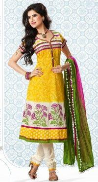 Aesthetic Gold Color & Off White Salwar Kameez