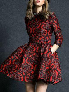 Vestido cuello redondo manga larga jacquard -rojo-Spanish SheIn(Sheinside)