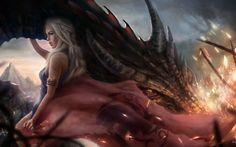 Game Of Thrones, Daenerys Targaryen, Dragon, House Targaryen, Artwork, Fantasy Art HD Wallpaper Desktop Background