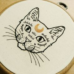 Crescent Moon Cat Hand Embroidery Pattern PDF modern