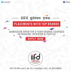 Get Placed in Top Brands !!!  100% placement | FREE Counselling . For #Admission_Process Call @+91-9041766699 OR Visit @ www.iifd.in/  #iifd #best #fashion #designing #institute #chandigarh #mohali #punjab #design #admission #india #fashioncourse  #himachal #InteriorDesigning #msc #creative #haryana #textiledesigning