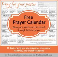 LINK UP & Free Prayer Calendar: Pray for Your Pastor! - The Road to 31