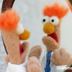 He's always in a panic, but I still love my new needle-felted Beaker!