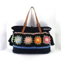 Crochet Floral Granny Squares Tote Bag with Adjustable Genuine Leather Strap Handles /BLACK/,  Crochet Bag, Beach Bag, Shopper, Gift Idea