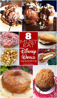 8 MUST EAT Disney World Desserts - eight desserts found throughout Disney World theme parks. You don't want to miss these! Make sure to wear your stretchy pants! LOL!