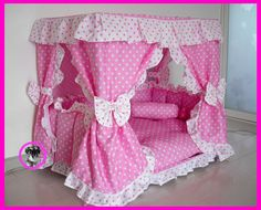 Gorgeous Luxury Princess Pet Dog Cat Puppy Bed House Pink white Dot Sz Small 19.6''x11.8''x19.6''