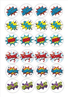 If kept in the sealed bag these toppers can be kept for up to (So, can be bought in advance). Icing toppers can be used on a large variety of toppings including icing, marzipan, chocolate and buttercream. Avengers Birthday, Superhero Birthday Party, Boy Birthday, Hulk Party, Superman Party, Wonder Woman Birthday, Wonder Woman Party, Festa Pj Masks, Action Words