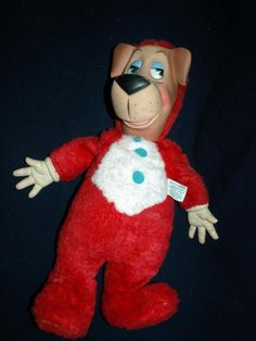 HUCKLEBERRY HOUND HANNA-BARBARA TV CARTOON SHOW KNICKERBOCKER LARGE PLUSH / RUBBER FACE AND HANDS DOLL 60s